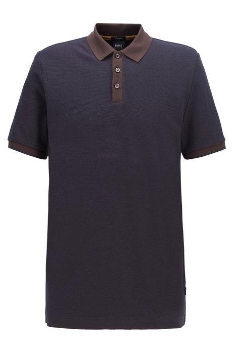 Two-tone polo shirt in micro check cotton jacquard, Dark Brown