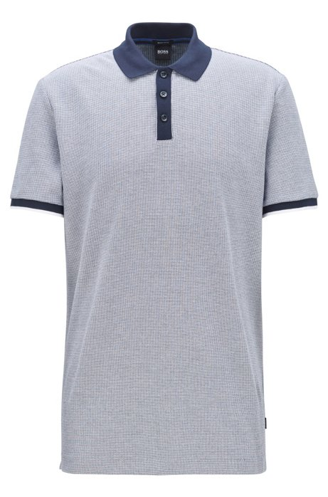 Two-tone polo shirt in micro check cotton jacquard, Dark Blue