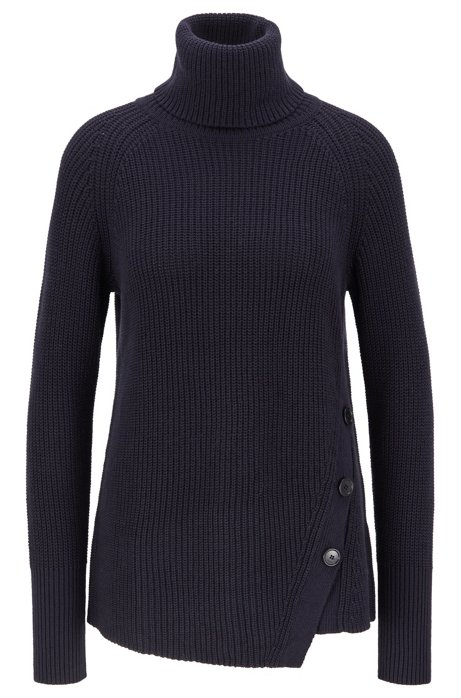Asymmetric-front buttoned sweater in cotton with cashmere, Open Blue