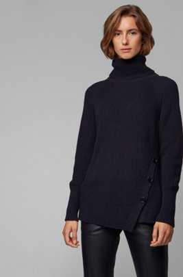Asymmetric-front buttoned sweater in cotton with cashmere, Light Blue