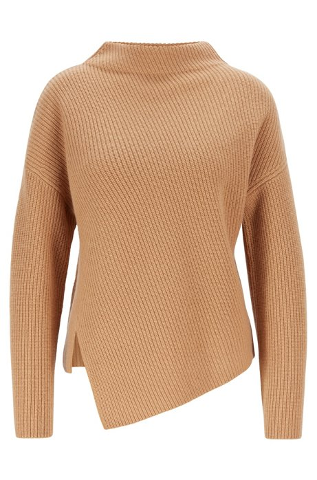 Relaxed-fit cashmere sweater with asymmetrical front, Light Brown