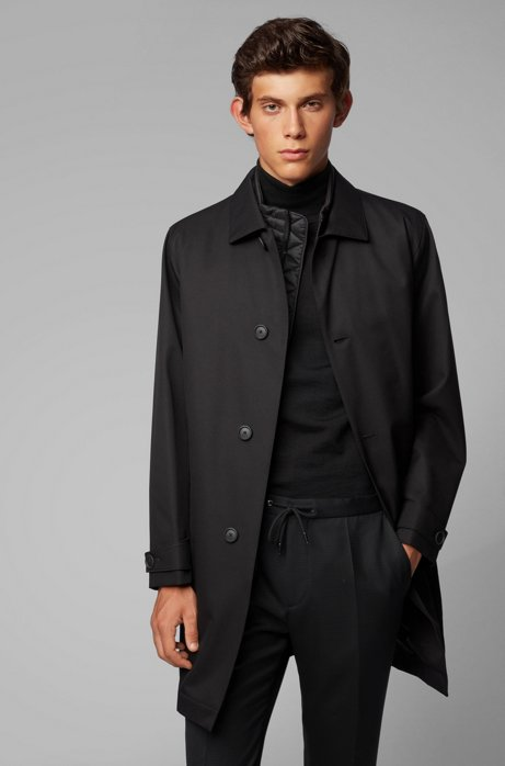 Three-in-one automobile coat with detachable quilted undershirt, Black