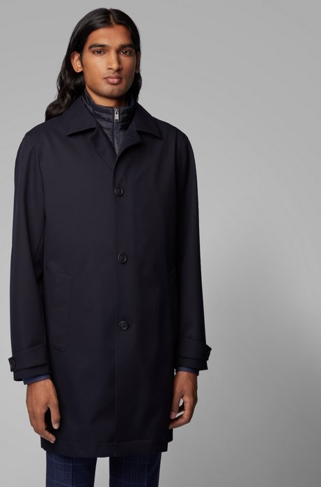 Three-in-one automobile coat with detachable quilted undershirt, Dark Blue
