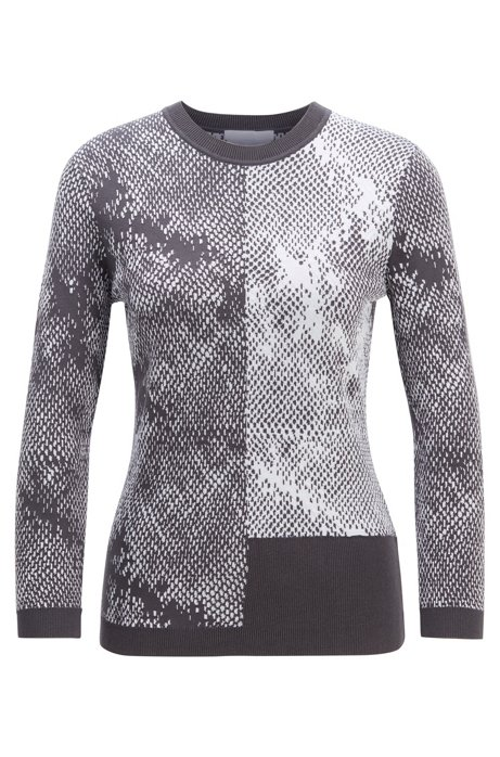 Slim-fit sweater with mixed structures, Patterned