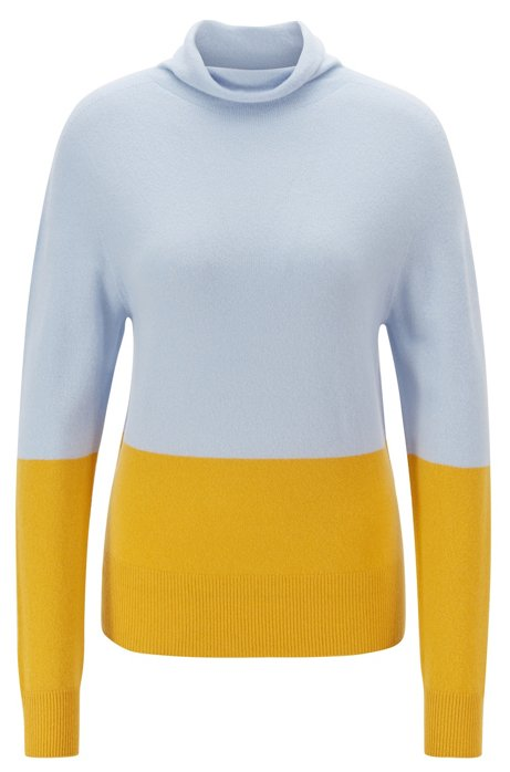Seamless color-block sweater in pure cashmere, Patterned