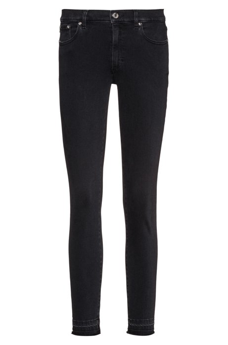 LOU skinny-fit cropped jeans in stretch denim, Charcoal