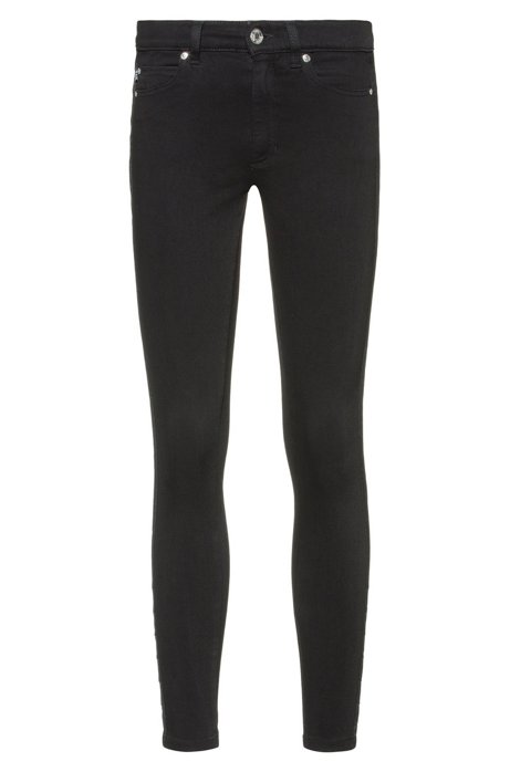 LOU skinny-fit jeans in stretch denim with stud detail, Black
