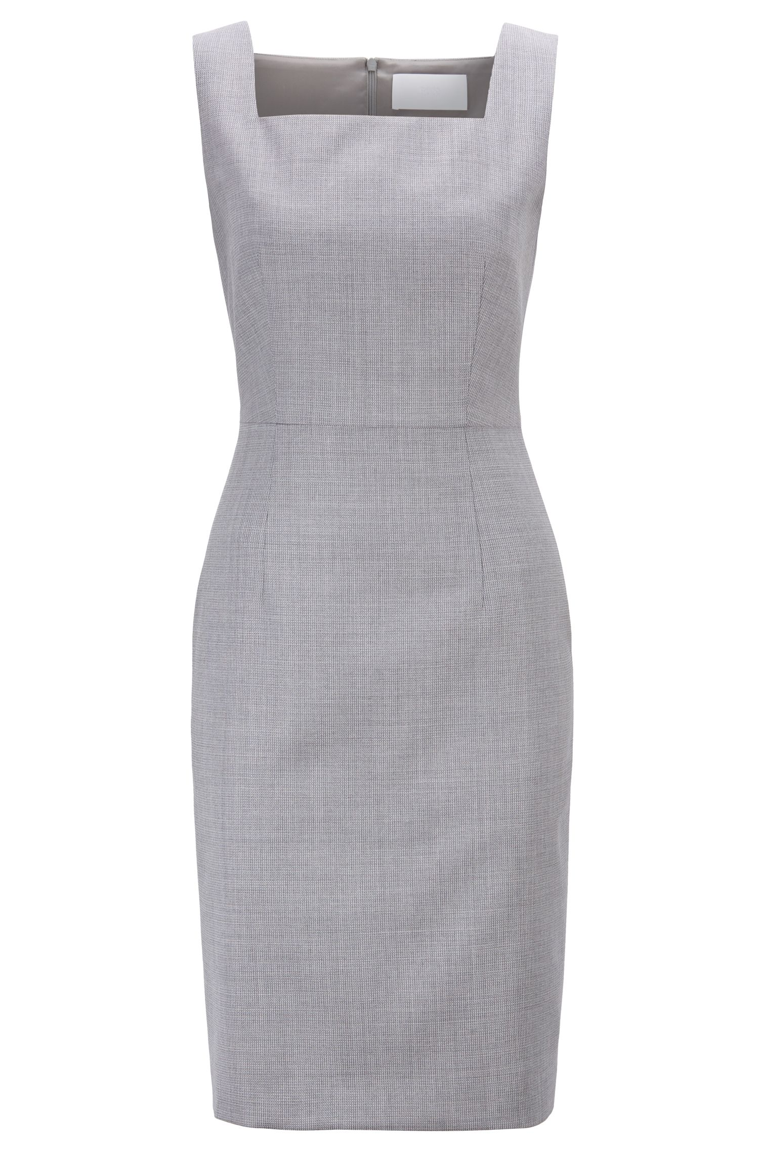 Regular-fit shift dress in Italian wool, Patterned