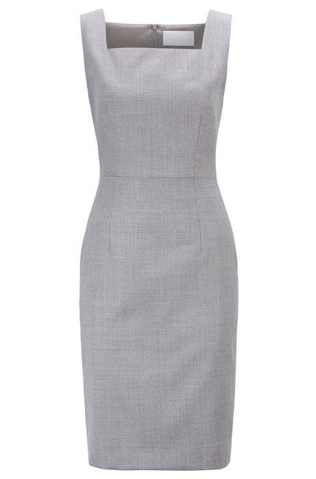 Regular-fit shift dress in Italian wool, Patterned