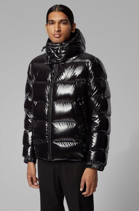 Regular-fit down jacket in lustrous fabric, Black