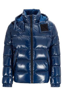 Regular-fit down jacket in lustrous fabric, Dark Blue