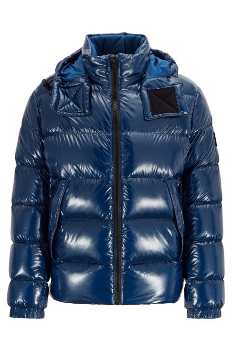 Regular-fit down jacket in lustrous fabric, Dark Blue