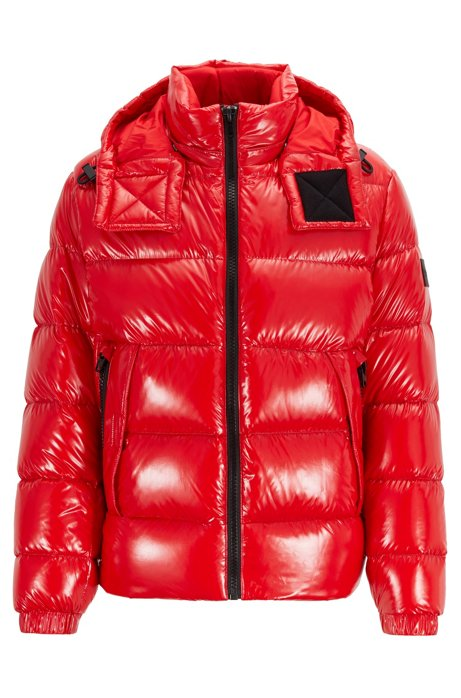 Regular-fit down jacket in lustrous fabric, Red