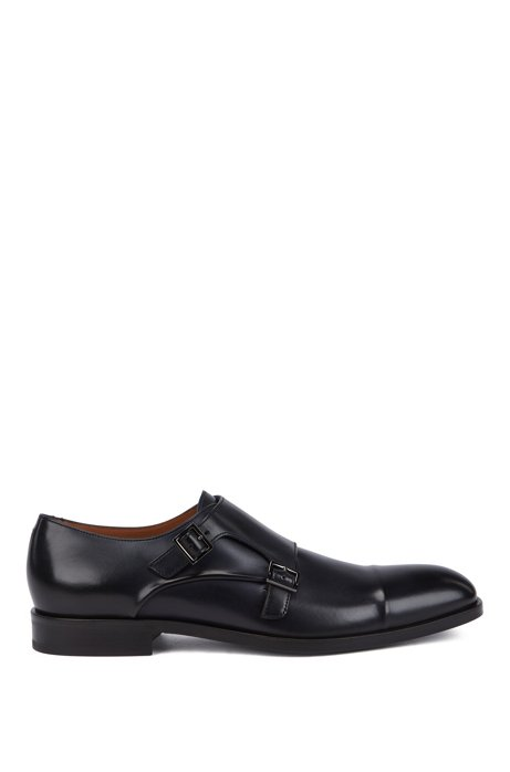 Italian-made monk shoes in vegetable-tanned leather, Dark Blue