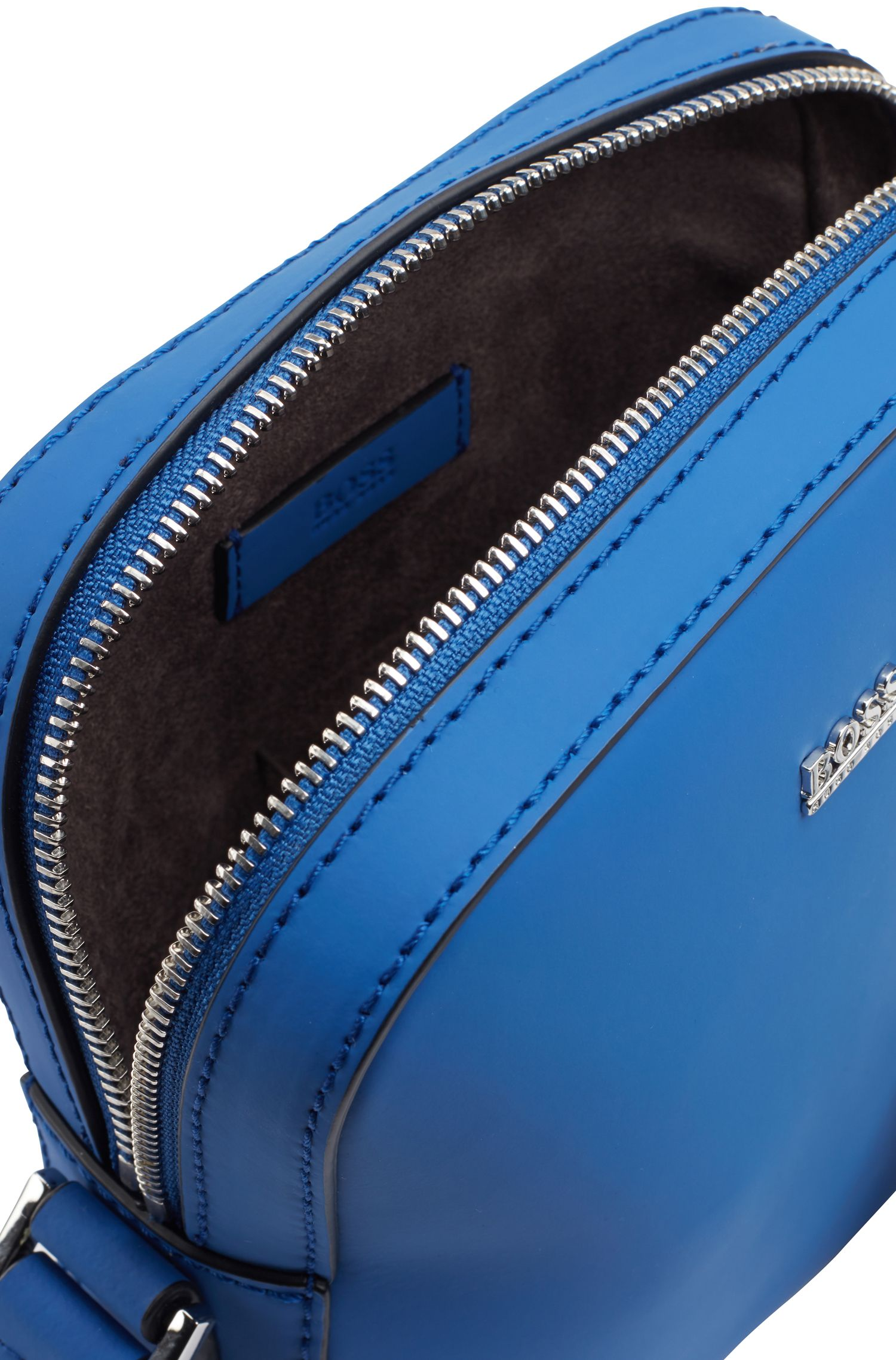 Signature Collection reporter bag in rubberized Italian leather, Turquoise