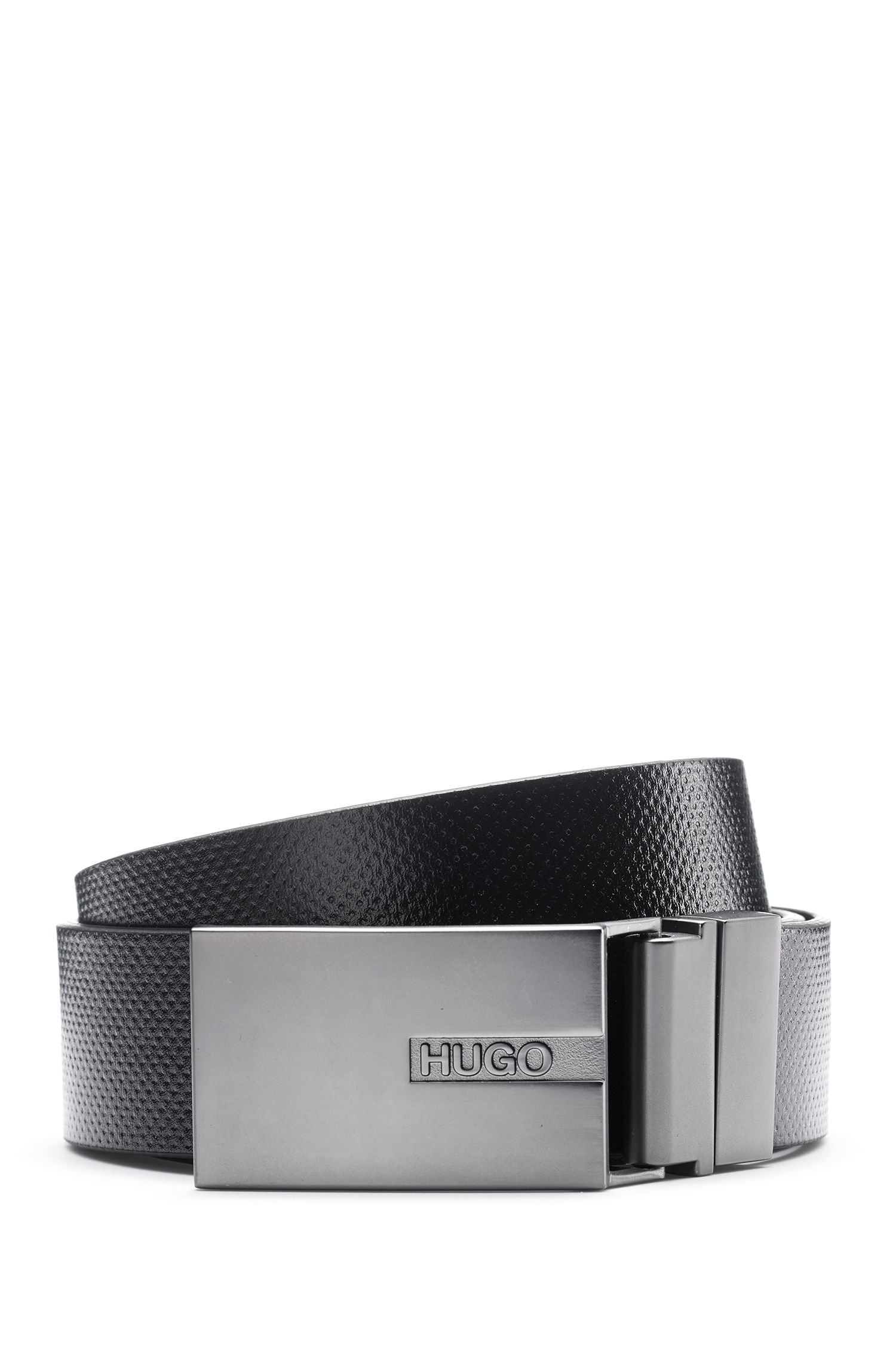 Reversible plain and structured leather belt with dual buckles, Black
