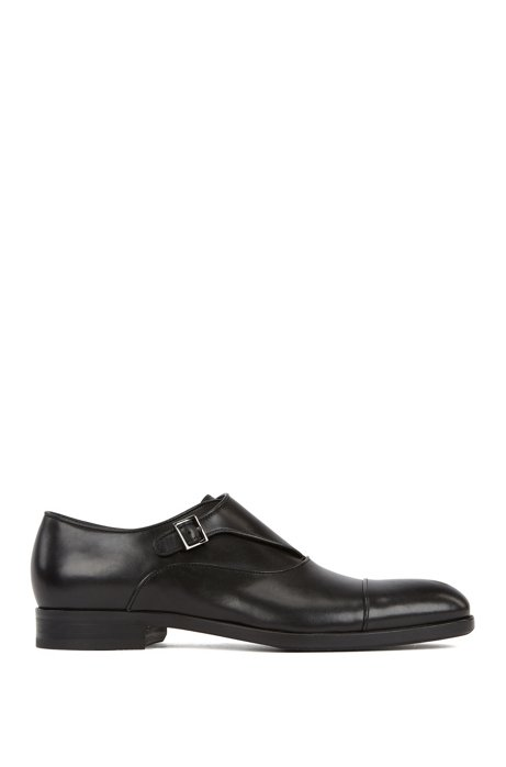 Single-strap monk shoes in vegetable-tanned leather, Black