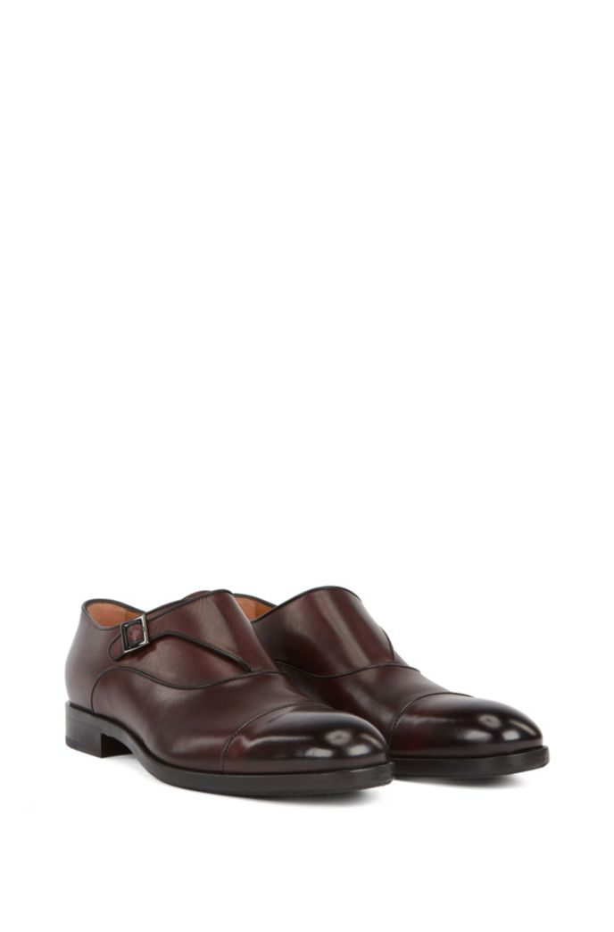 Single-strap monk shoes in vegetable-tanned leather