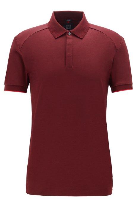Slim-fit polo shirt in interlock cotton, Dark Red