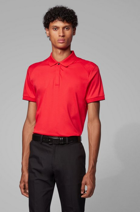 Slim-fit polo shirt in interlock cotton, Red