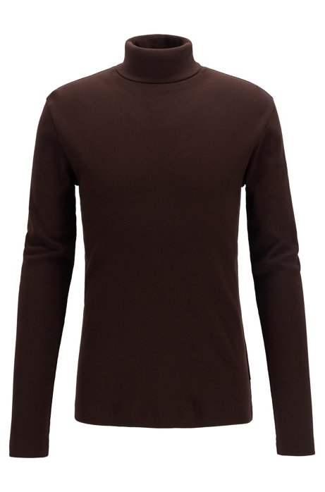 Long-sleeved T-shirt in ribbed Pima cotton with rollneck, Dark Brown
