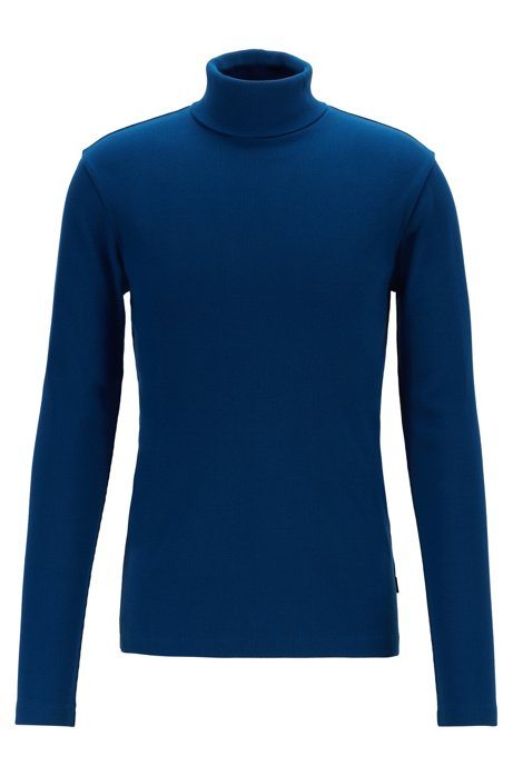 Long-sleeved T-shirt in ribbed Pima cotton with rollneck, Dark Blue