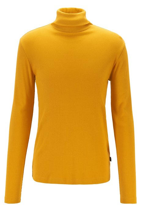 Long-sleeved T-shirt in ribbed Pima cotton with rollneck, Gold