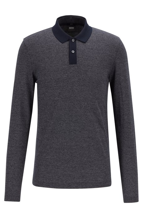 Slim-fit polo shirt in two-tone mouliné cotton, Dark Blue