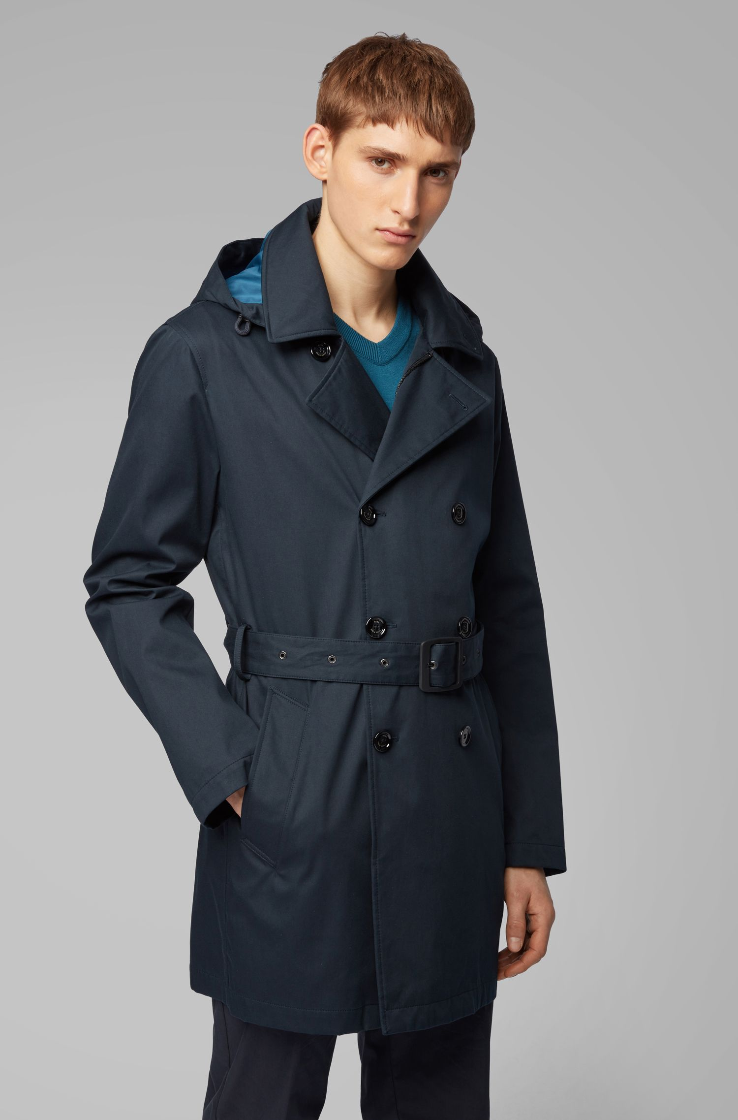 Relaxed-fit trench coat with detachable hood, Dark Blue