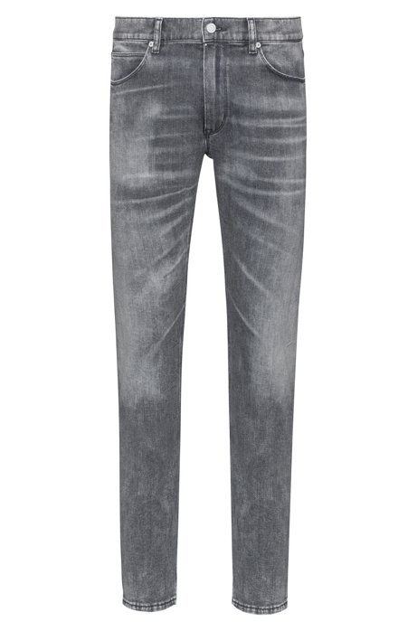Skinny-fit jeans in distressed grey stretch denim, Charcoal