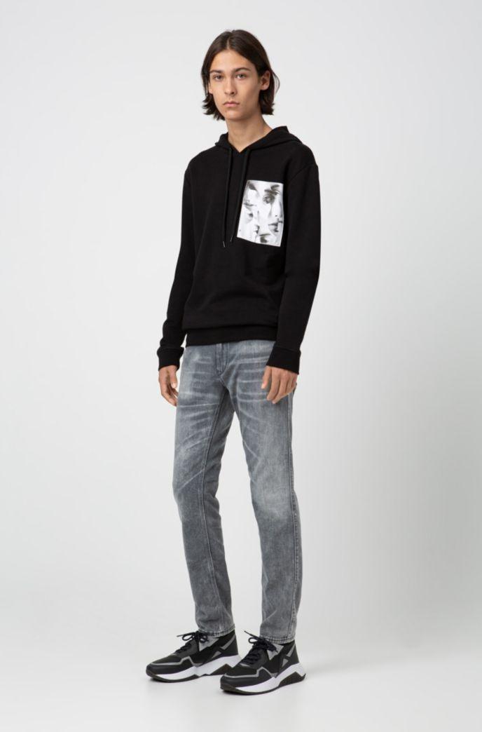 Skinny-fit jeans in distressed grey stretch denim