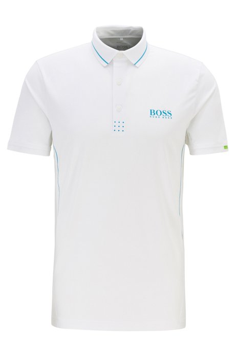 Martin Kaymer slim-fit polo shirt with perforated artwork, White