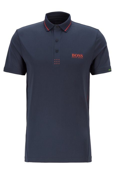 Martin Kaymer slim-fit polo shirt with perforated artwork, Dark Blue