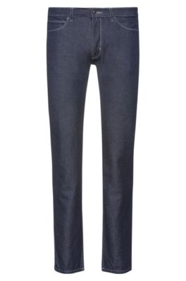 Slim-fit jeans in dark-blue denim with carbon fibers, Dark Blue