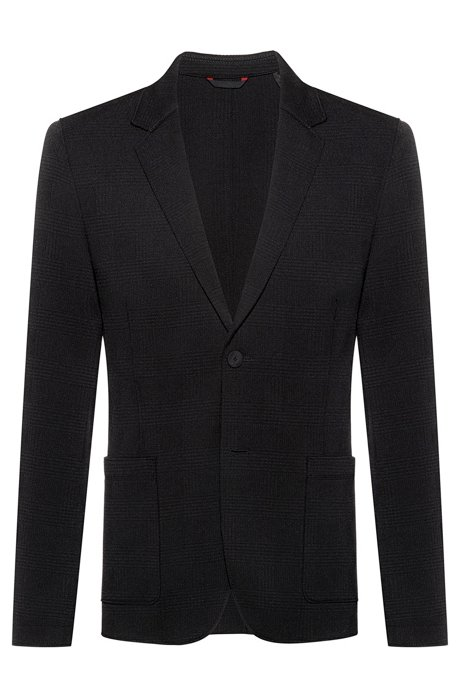 Extra-slim-fit jacket in plain tonal check, Black