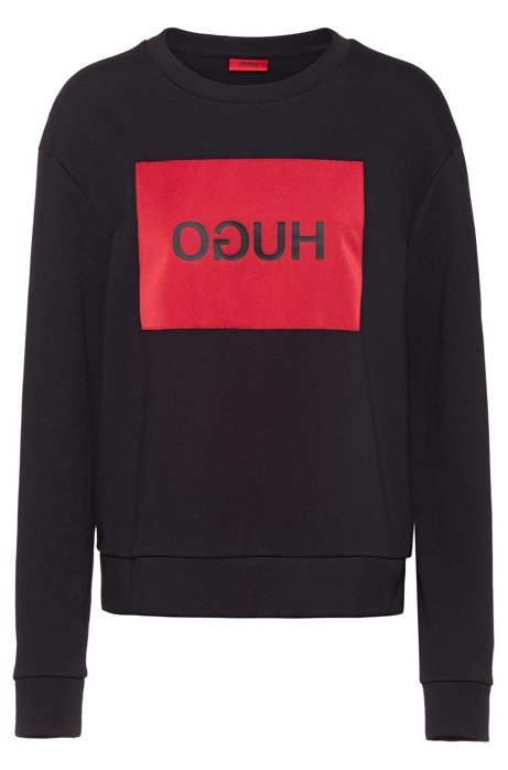 Relaxed-fit sweatshirt with reverse-logo patch, Black