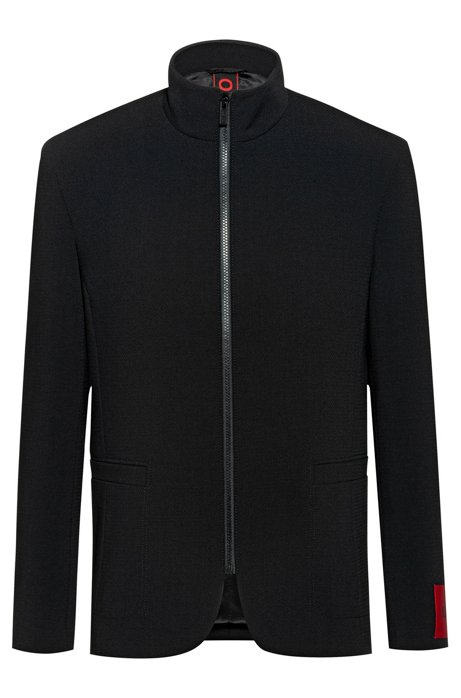 Regular-fit jacket in micro-pattern fabric, Black