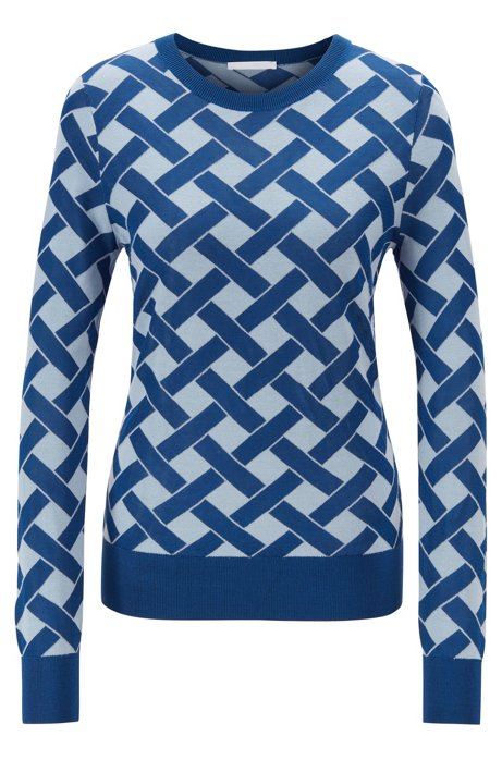 Slim-fit knitted sweater in cross-hatch jacquard, Patterned