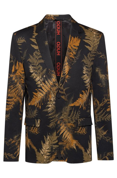 Slim-fit jacket in stretch cotton with leaf print, Dark Green