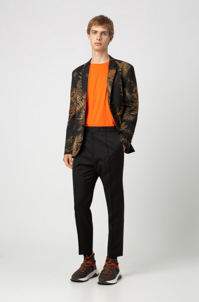 Slim-fit jacket in stretch cotton with leaf print