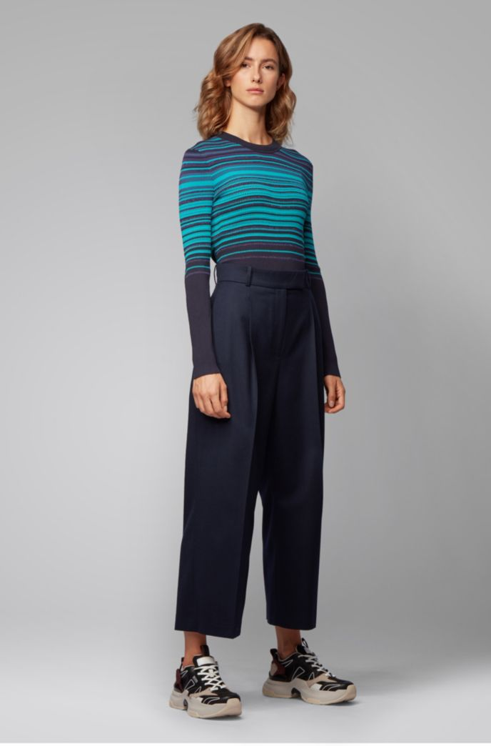 Crew-neck sweater with colorful stripes and metalized fibers