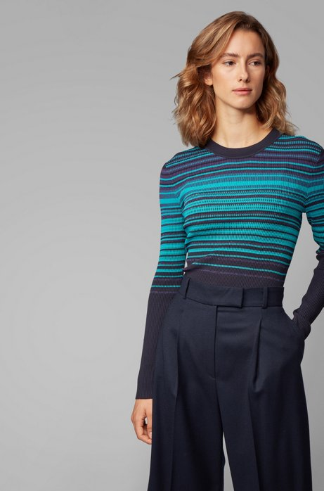Crew-neck sweater with colorful stripes and metalized fibers, Patterned