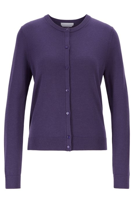 Crew-neck cardigan in virgin wool, Dark Purple