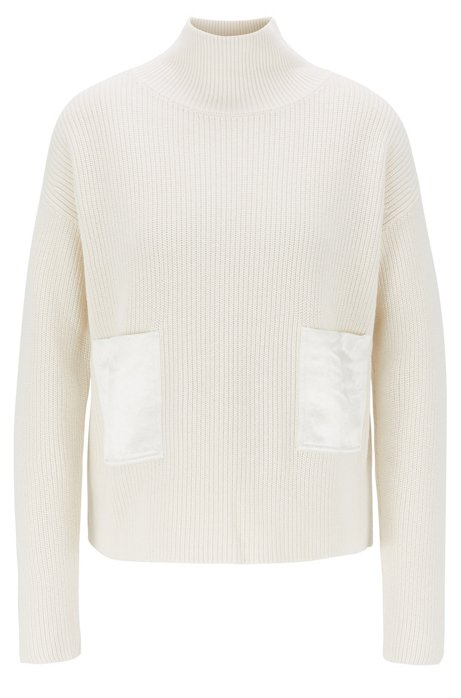 Regular-fit sweater in cotton and cashmere, Natural