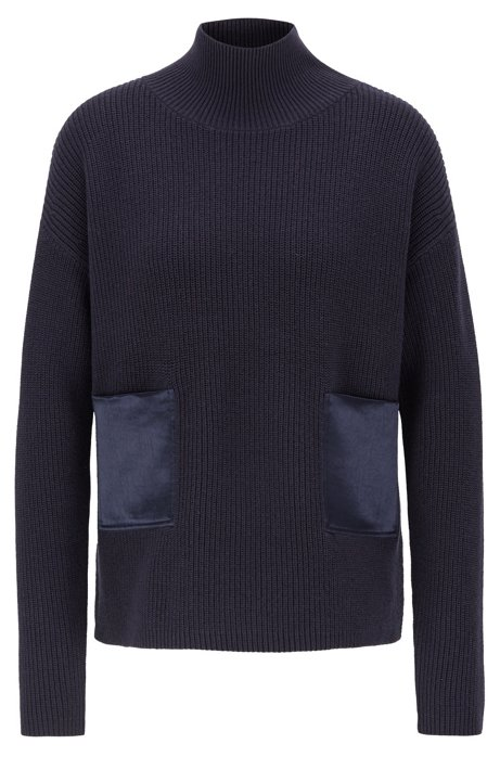 Regular-fit sweater in cotton and cashmere, Open Blue