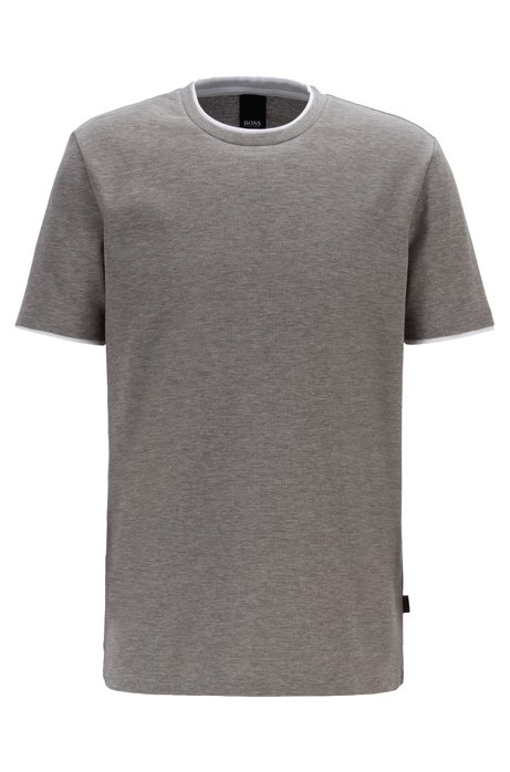 Eco-friendly cotton T-shirt with double collar and cuffs, Silver
