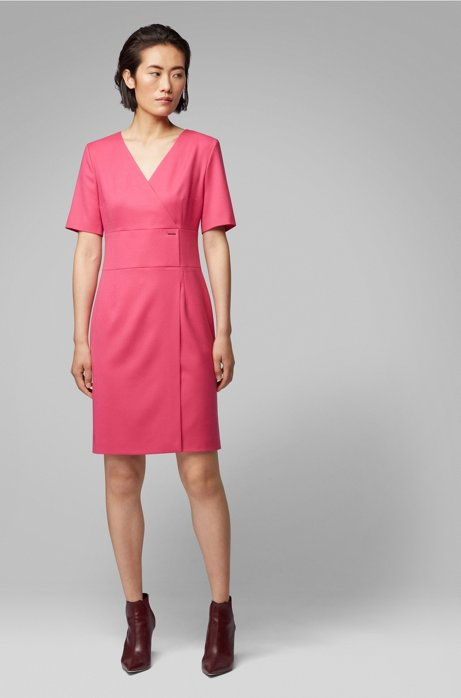 Wrap-style dress in stretch-wool flannel, Pink