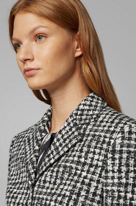 Slim-fit jacket in irregular-check Italian fabric, Patterned