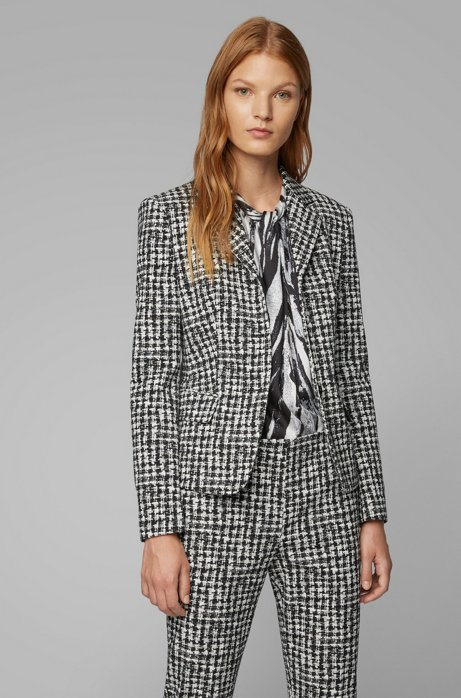 Slim-fit jacket in irregular-check Italian fabric, Patterned