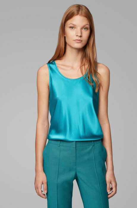 Regular-fit top with scoop neck in stretch silk, Turquoise